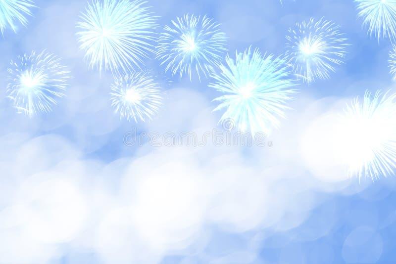 Blauw vuurwerk en vaag bokeh licht met exemplaarruimte in Kerstmis en Nieuwjaar Abstract achtergrondvakantieconcept stock afbeeldingen
