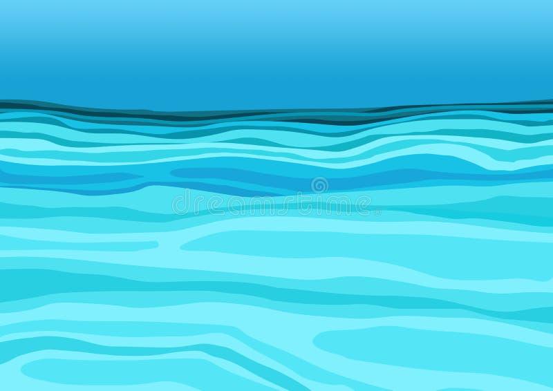Blauw water op de overzeese ontwerpachtergrond vector illustratie