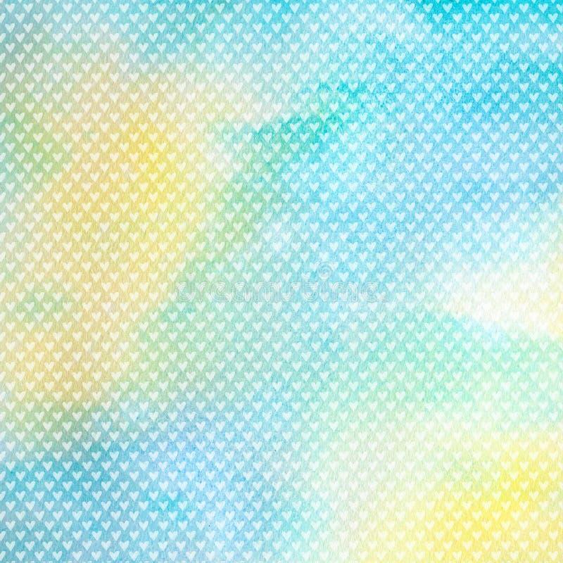 Blauw waterverfpatroon als achtergrond met harten stock illustratie