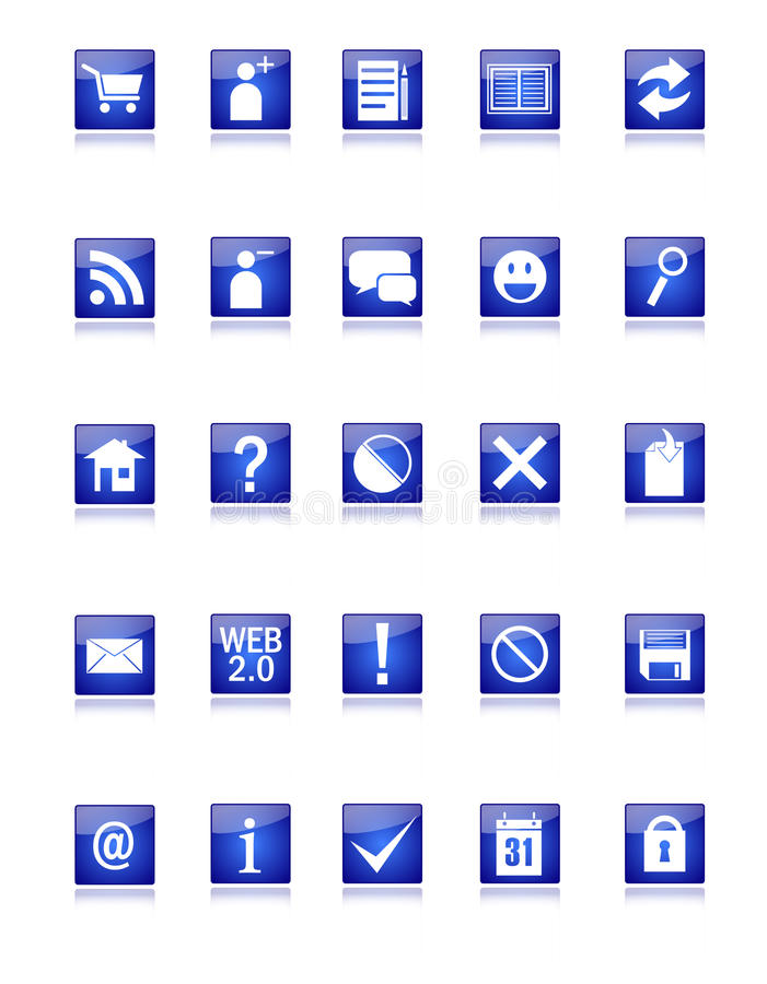 Blauw Web en Pictogrammen Blog vector illustratie