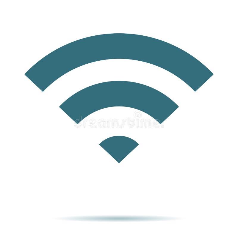 Blauw WIFI-geïsoleerd pictogram Vlak Draadloos vectorsymbool Modern eenvoudig vlak netwerkteken Zaken, int. royalty-vrije illustratie