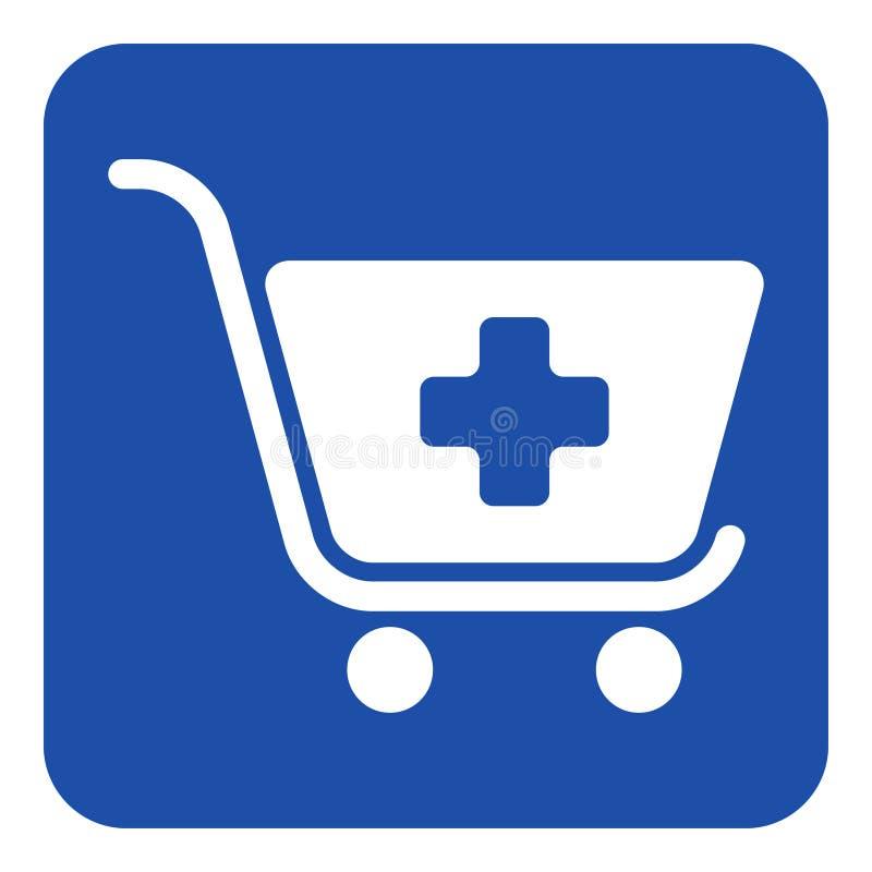 Blauw, wit teken - het boodschappenwagentje plus, voegt pictogram toe stock illustratie