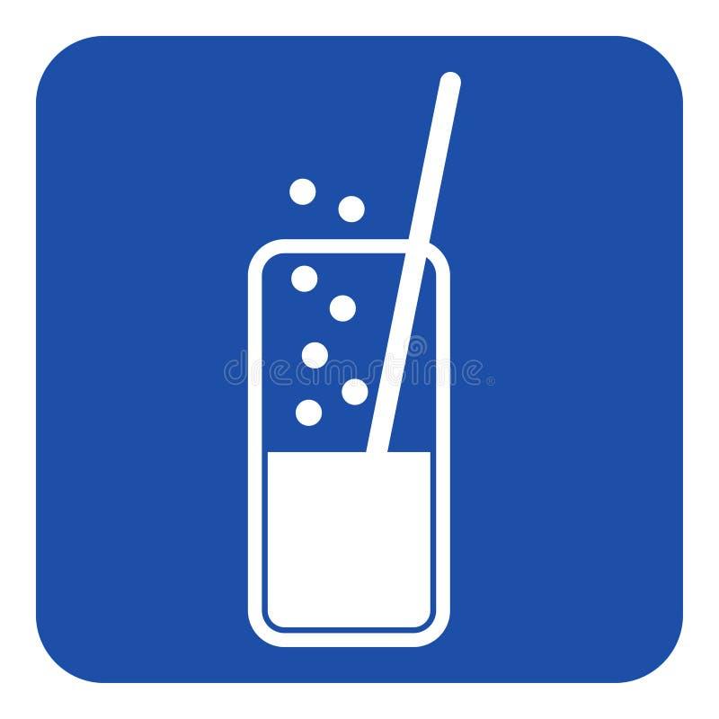 Blauw, wit teken - sprankelende drank en stro vector illustratie