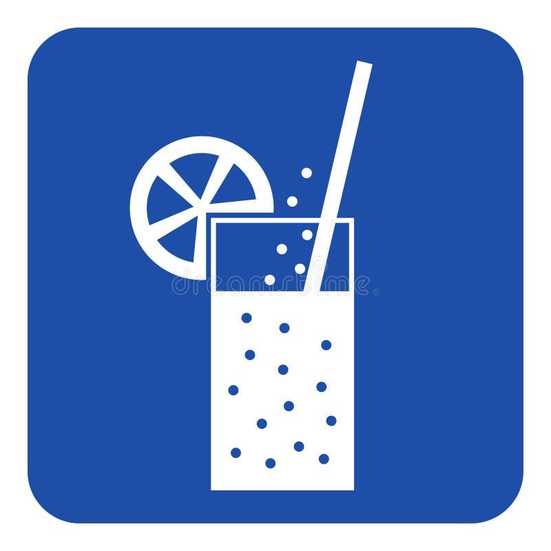 Blauw, wit teken - sprankelende drank, stro, citrusvrucht stock illustratie