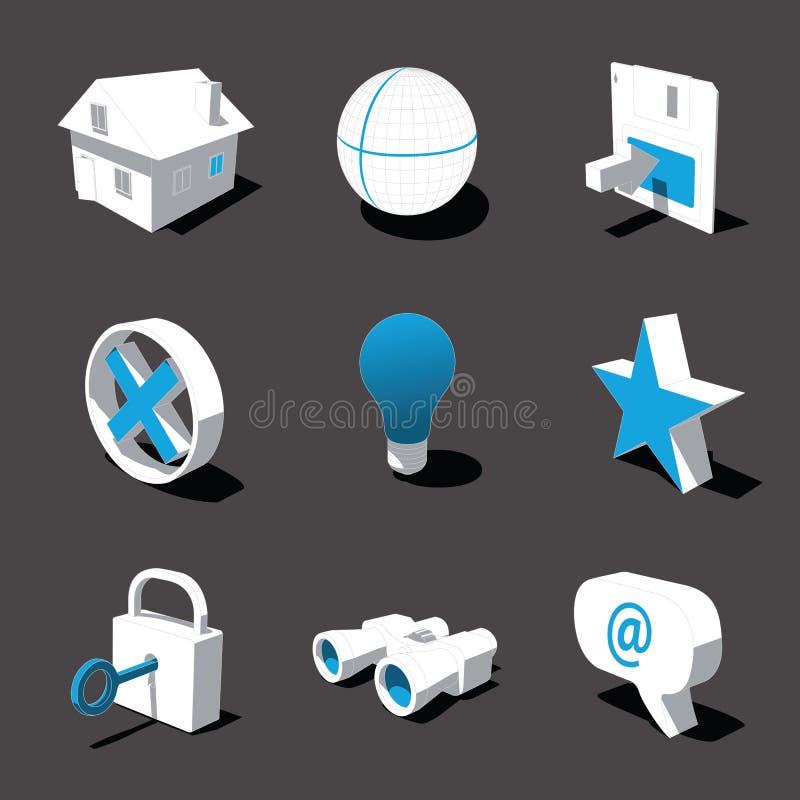 Blauw-witte 3D pictogramreeks 01 royalty-vrije stock foto's