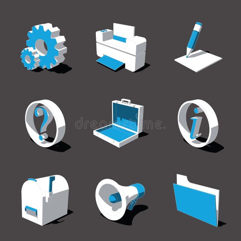 Blauw-witte 3D pictogramreeks 02 royalty-vrije stock foto