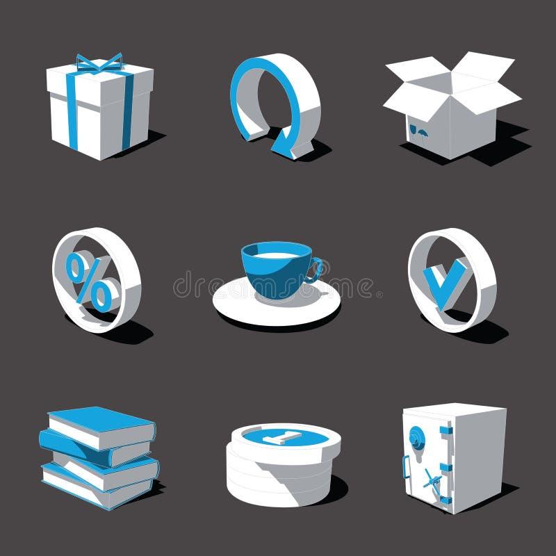 Blauw-witte 3D pictogramreeks 04 stock fotografie