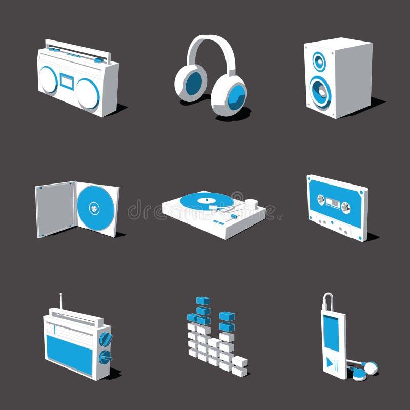Blauw-witte 3D pictogramreeks 07 royalty-vrije illustratie