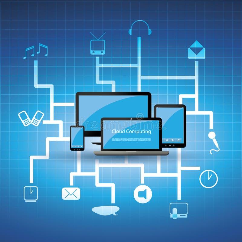 Blauw wolk gegevensverwerkingsconcept royalty-vrije illustratie