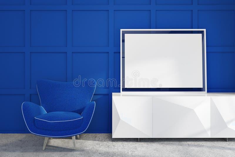 Blauw woonkamerbinnenland, leunstoel en affiche stock illustratie