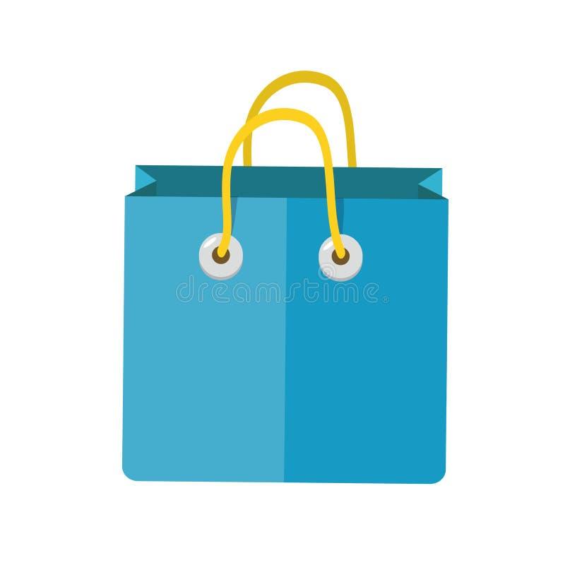 Blauw zakdocument met geel handvat stock illustratie