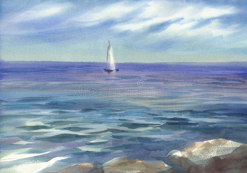 Blauw zeegezicht met een achtergrond van de zeilwaterverf stock illustratie