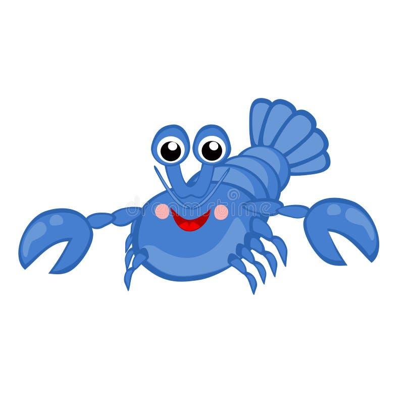 Blauw zeekreeft vector Grappig van het overzeese dierlijk Gelukkig de rivierkreeften Oceaandier beeldverhaalkarakter, Rivierkreef royalty-vrije illustratie