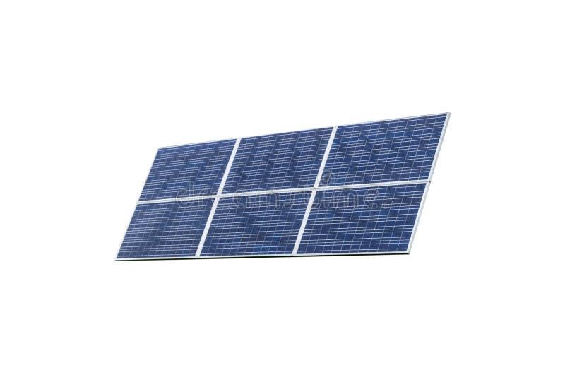 Blauw zonnepaneel dat op witte achtergrond wordt geïsoleerda Zonnepanelenpatroon voor duurzame energie Vernieuwbare zonne-energie stock afbeelding