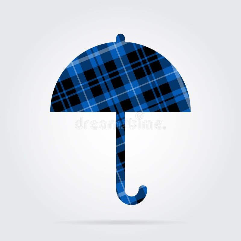Blauw, zwart geruit Schots wollen stof geïsoleerd pictogram - paraplu vector illustratie