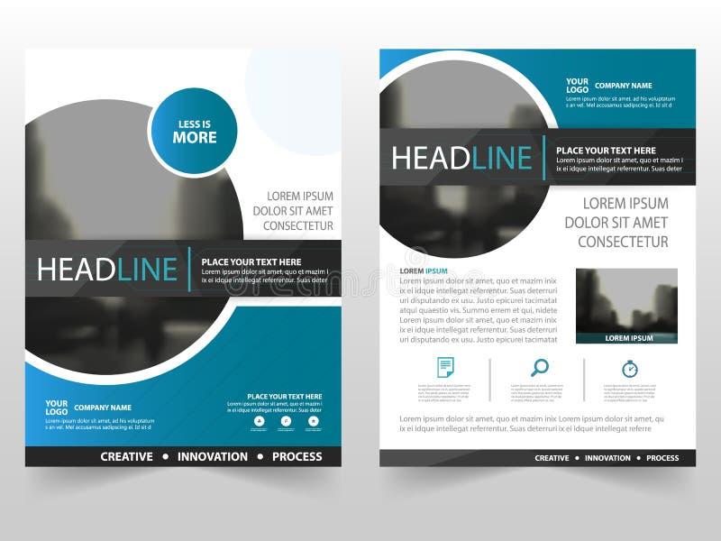 Blauw zwart van het de Vlieger jaarverslag cirkel van het bedrijfsbrochurepamflet het malplaatjeontwerp, de lay-outontwerp van de vector illustratie