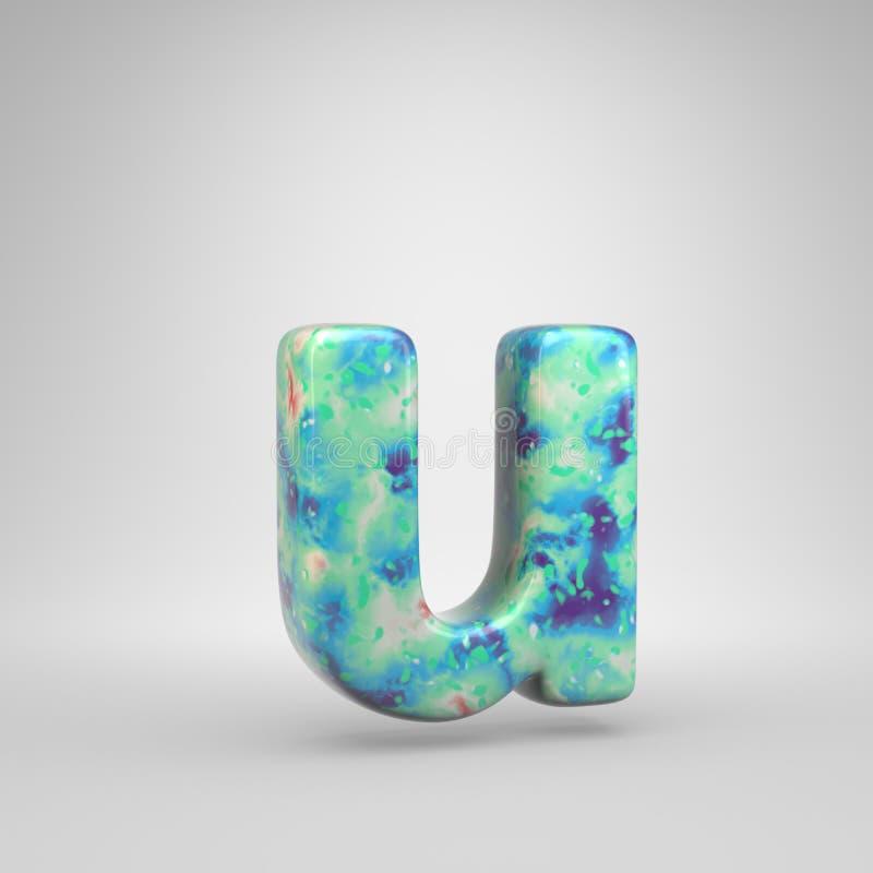 Blauwachtig acryl het gieten brievenu in kleine letters geïsoleerd op witte achtergrond stock illustratie