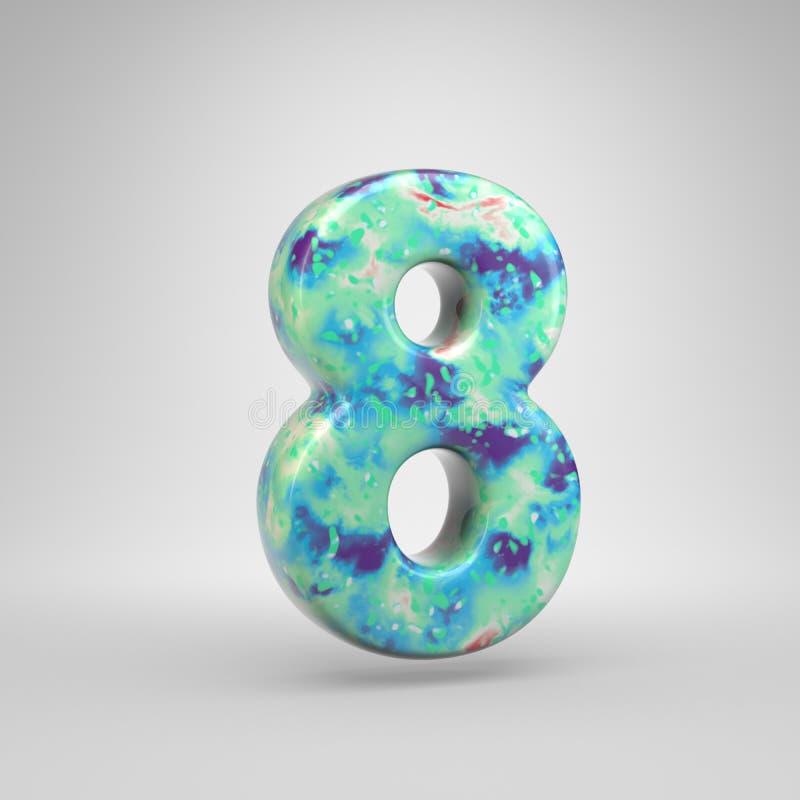 Blauwachtig acryldie het gieten nummer 8 op witte achtergrond wordt geïsoleerd royalty-vrije illustratie
