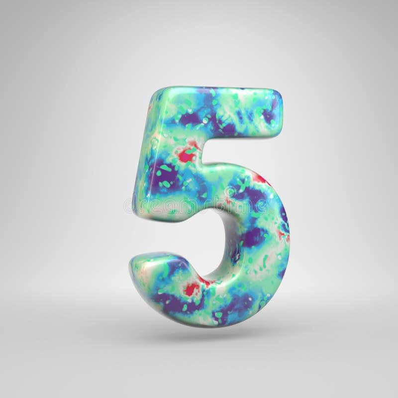 Blauwachtig acryldie het gieten nummer 5 op witte achtergrond wordt geïsoleerd vector illustratie