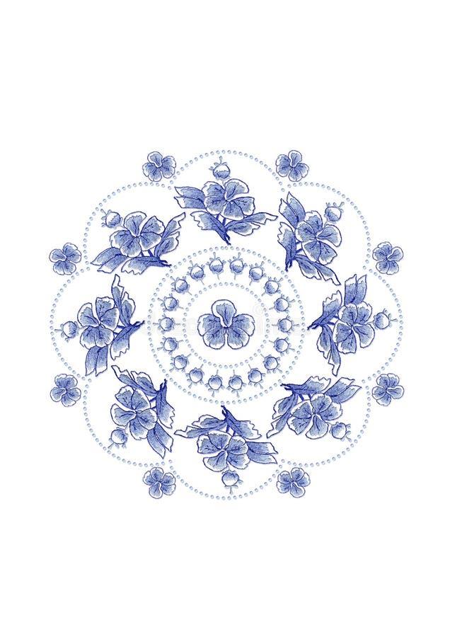 Blauwachtig golvend kader van parels voor servet met geborduurd van blauwe bloemen en bladeren op witte achtergrond stock illustratie