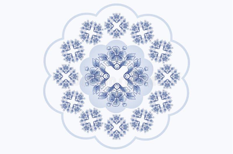 Blauwachtig golvend kader voor servetborduurwerk met ornamenten van blauwe bloemen royalty-vrije illustratie