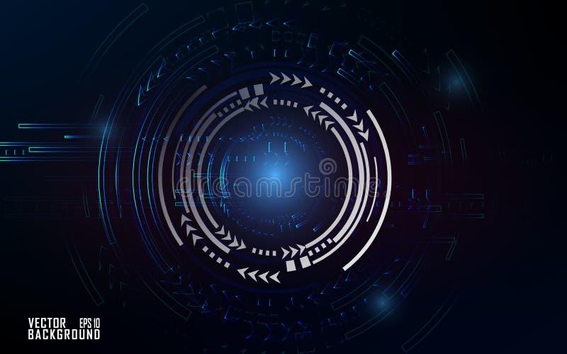 Blauwachtig technologie-effect op donkere achtergrond voor bedrijfspresentatie en malplaatje vector illustratie