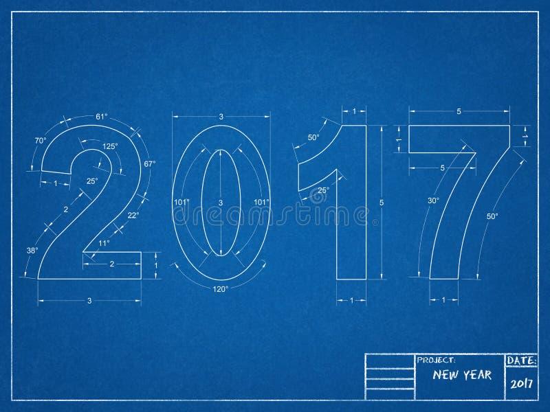 2017 Blauwdruk vector illustratie