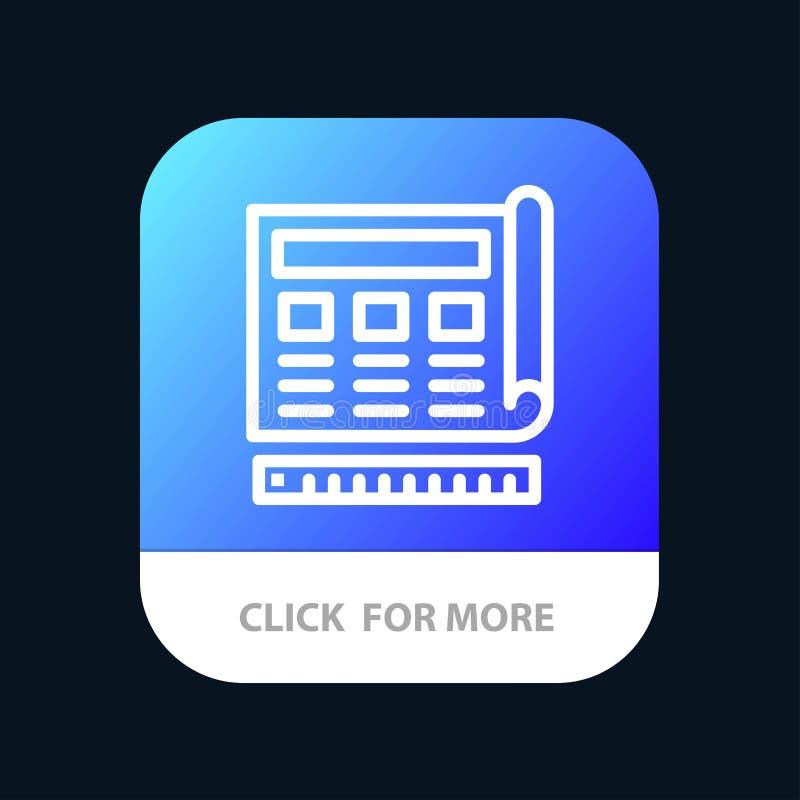 Blauwdruk, Blauw, Druk, Website, de Knoop van de Webmobiele toepassing Android en IOS Lijnversie vector illustratie