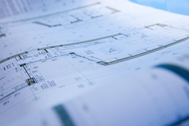 Blauwdruk van de bouw royalty-vrije stock afbeelding