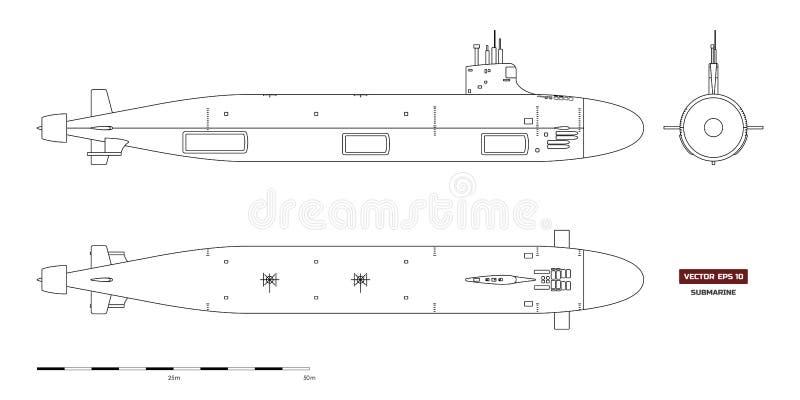 Blauwdruk van onderzeeër Militair schip Hoogste, voor en zijaanzicht Slagschipmodel Industriële tekening oorlogsschip stock illustratie