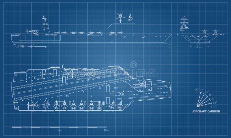 Blauwdruk van vliegdekschip Militair schip Hoogste, voor en zijaanzicht Slagschipmodel Oorlogsschip in overzichtsstijl stock illustratie