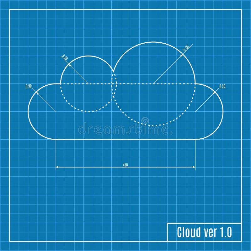 Blauwdruk van wolk vector illustratie