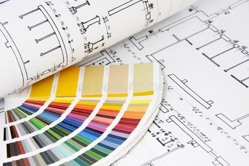Blauwdrukken en kleurengids stock fotografie