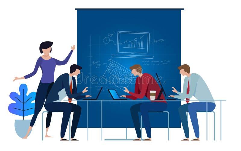 Blauwdrukteam die als team aan laptop werken de samenwerking van de conceptenillustratie samen bovenop de lijstvector royalty-vrije illustratie