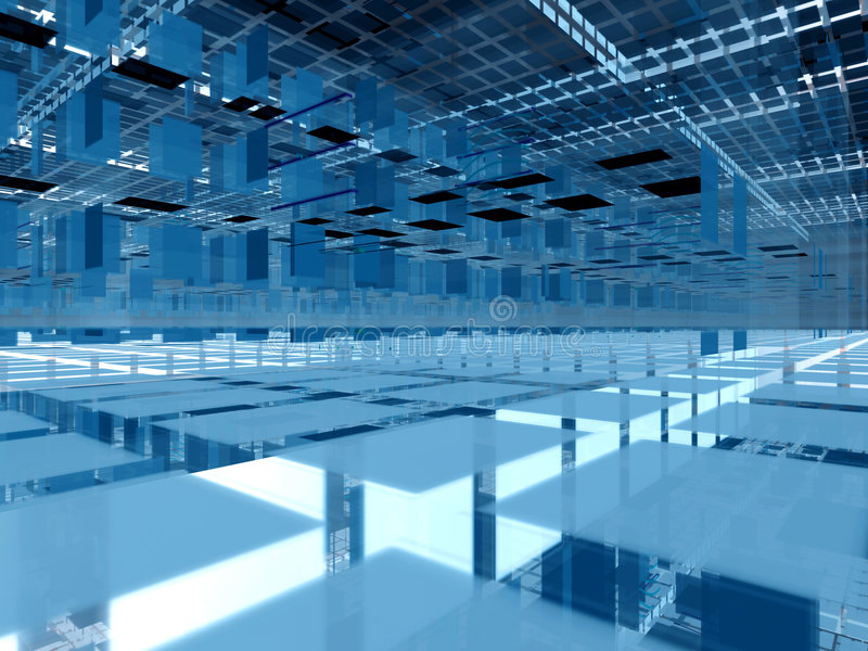 Blauwe 3d clustersarchitectuur stock illustratie