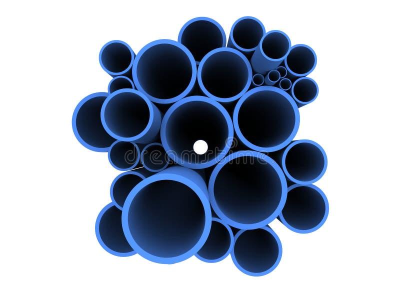 Blauwe 3d pijpen royalty-vrije illustratie