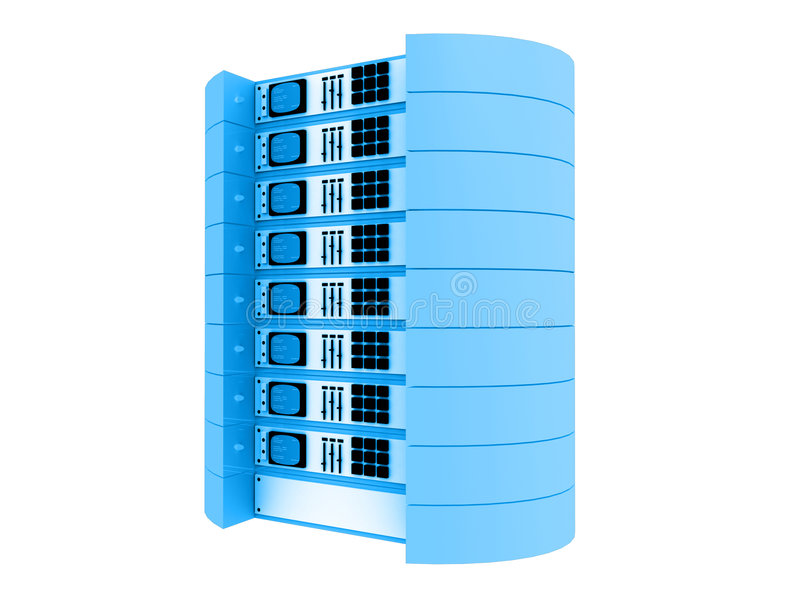Blauwe 3d servers stock illustratie