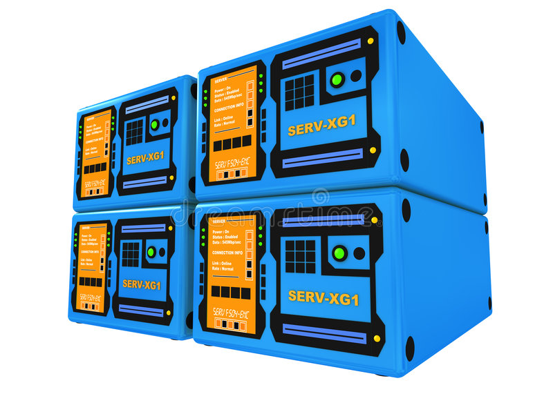 Blauwe 3d servers #4 vector illustratie