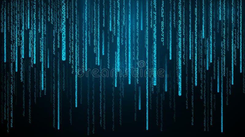 Blauwe aantallenstroom Cyberspace met dalende digitale lijnen Abstracte matrijs Vectorillustratie als achtergrond royalty-vrije illustratie