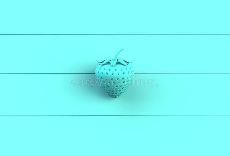 Blauwe aardbei op blauw houten bord vector illustratie