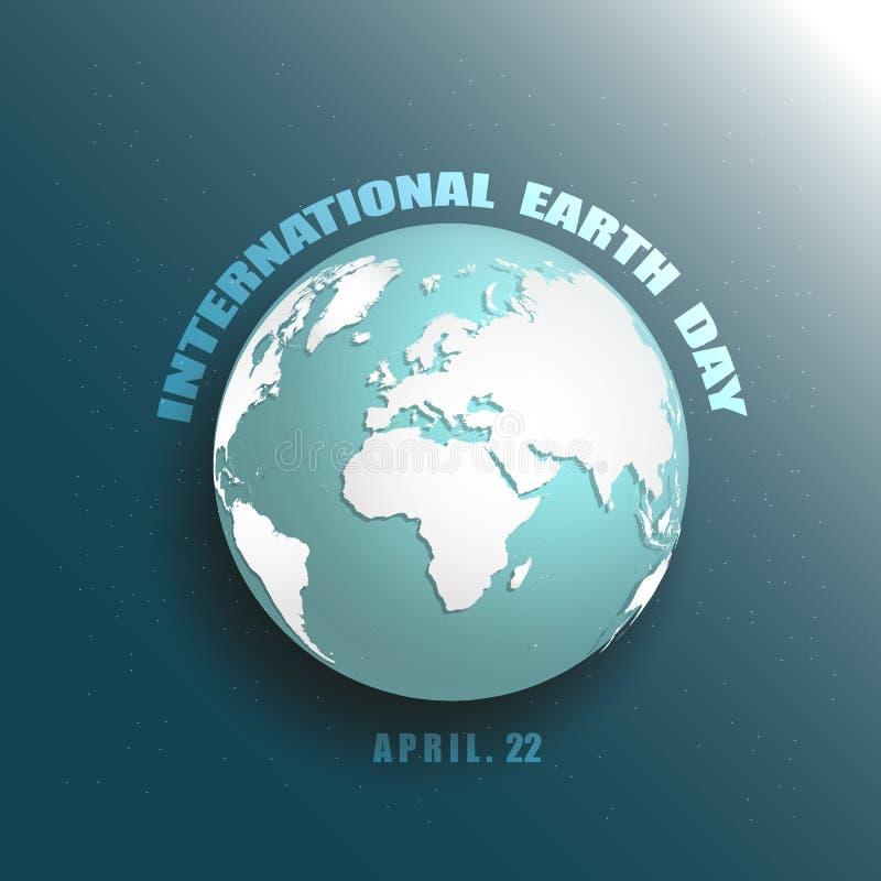Blauwe aarde in pictogram van de ster het ruimte 3D vectorillustratie Sparen aardeconcept Internationale Aarde Dag 22 April Werel vector illustratie