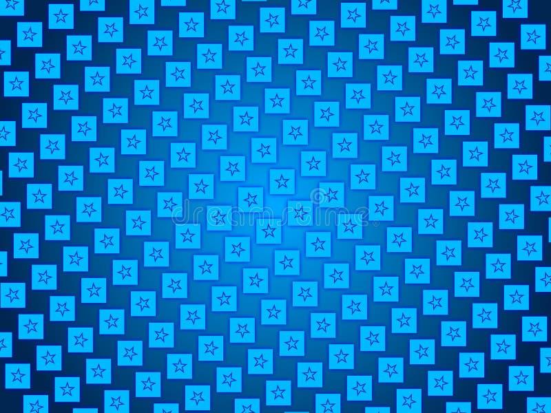 Blauwe abstracte achtergrond, deeltjessterren en vierkanten royalty-vrije illustratie
