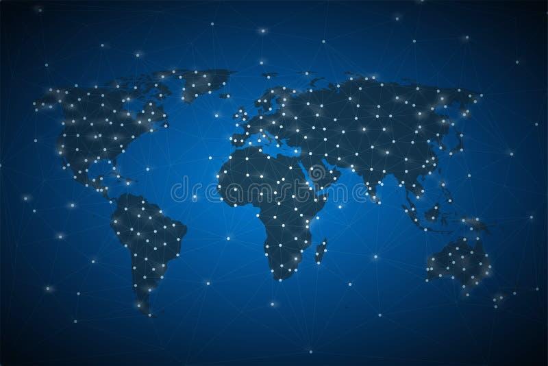 Blauwe abstracte achtergrond met een silhouet van de wereldkaart en een digitaal netto concept stock illustratie