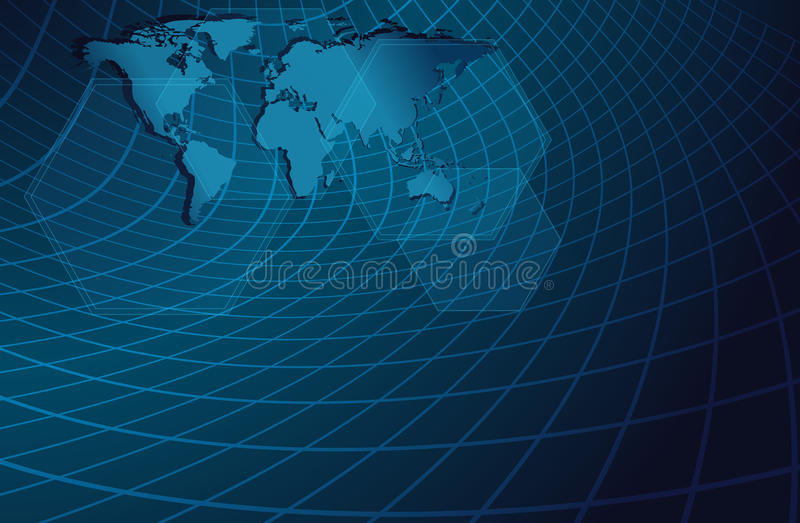 Blauwe abstracte achtergrond met gebogen net royalty-vrije illustratie