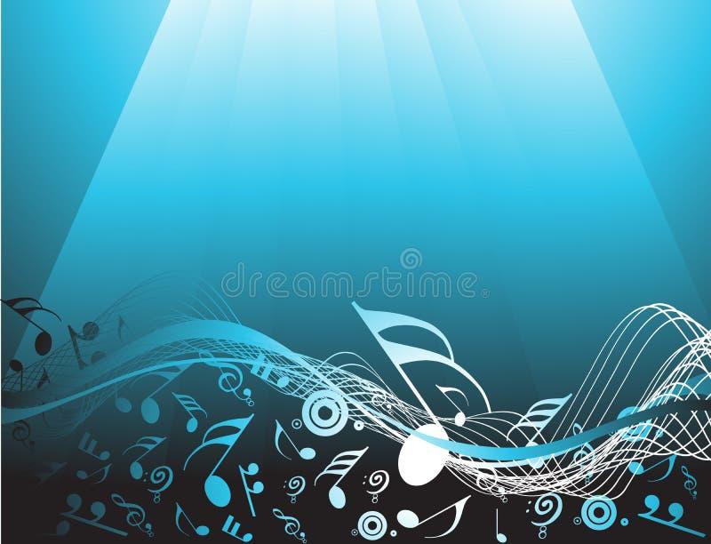 Blauwe abstracte achtergrond met muzieknota's stock illustratie