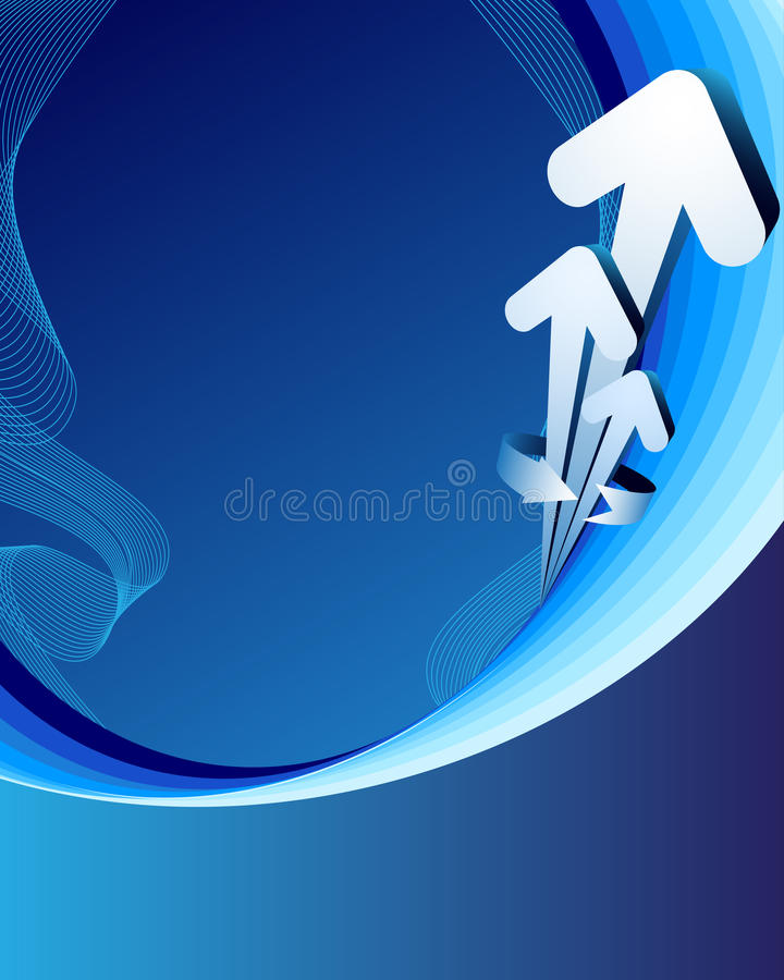 Blauwe abstracte achtergrond met pijlen vector illustratie