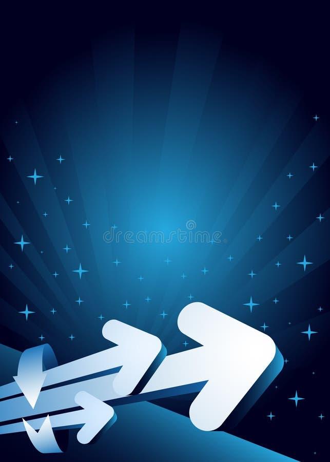 Blauwe abstracte achtergrond met pijlen stock illustratie