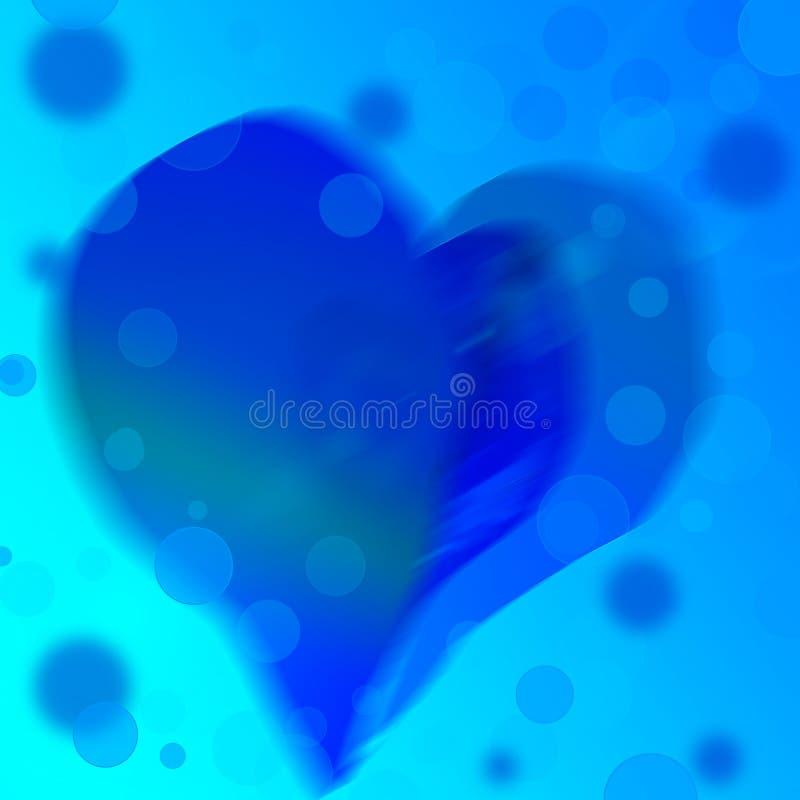 Blauwe abstracte achtergrond van kleurenhart stock illustratie