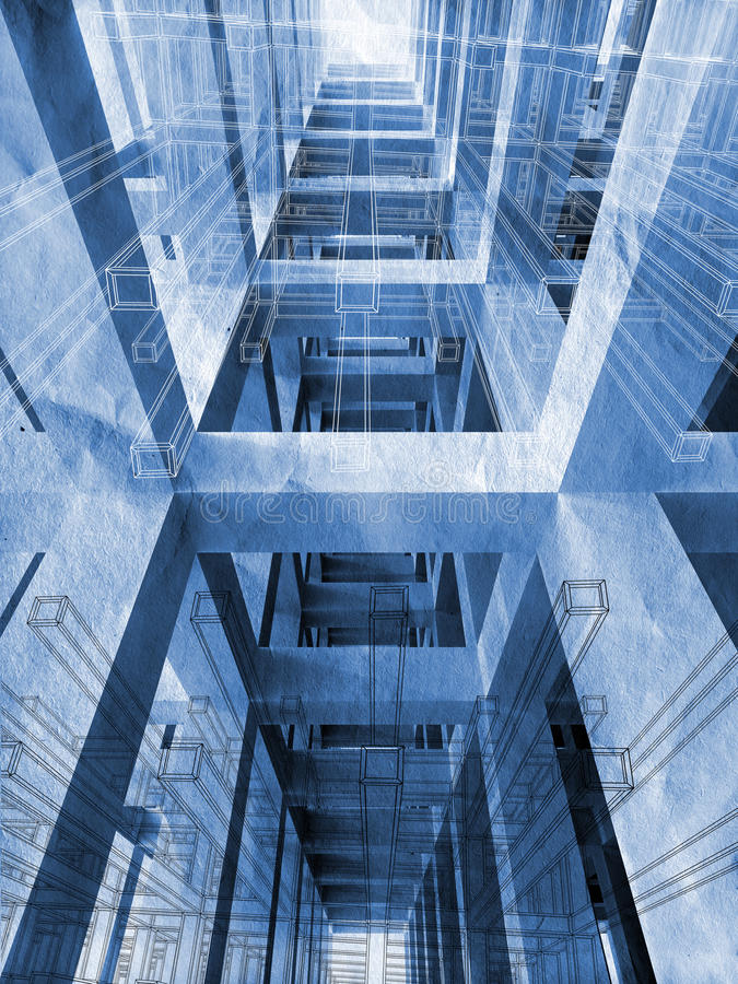 Blauwe abstracte architectuur 3d achtergrond royalty-vrije illustratie