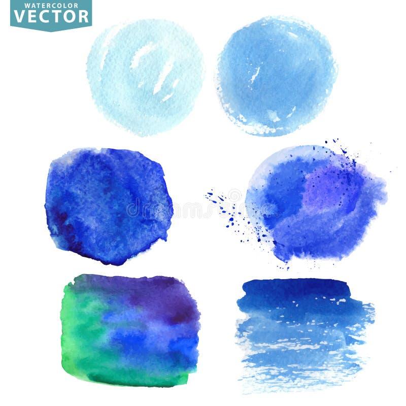 Blauwe abstracte cirkel op de witte achtergrond Blauwe, cyaanoceaan, overzees, hemelkleuren vector illustratie